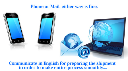 phone or mai, either way is fine. Communicate in English for preparing the shipment in order to make entire process smoothly.